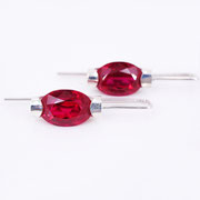 NEU: Ohrhänger, Silber mit synthetischen Rubinen