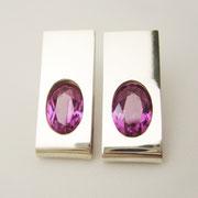 Ohrstecker, Silber mit violetten synthetischen Spinellen