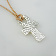 Feinsilberanhänger, ägyptisches Kreuez aus 1000er Silber an Lederband