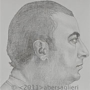 """Hagop, 6""""x6"""", silverpoint on paper, 2011"""