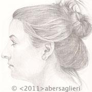 "Lea, 6""x6"", silverpoint on paper, 2011"