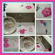 Coffre à jouets en bois et petite assiette faite exprès pour les 1 an de Livia.