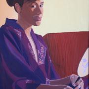 ragazza con kimono viola  80x120 acrilico su tela