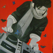 la musica : le mie ali  80 x 120 cm acrilico su tela -collezione privata