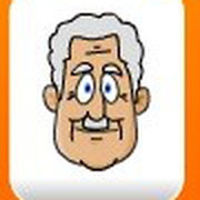 He's got short white hair, a white rectangular small moustache and no glasses or beard. He's got an oval face.