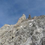 Im Aufstieg, Blick zum Dent de Geant