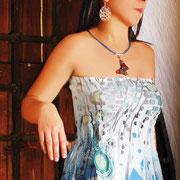 Juego Mariposa en Vidrio (Collar, Aretes) R- 307