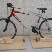 bicicleta cortada como reclamo en Feria