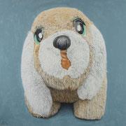 「かしげる」W1000×H1000 acryl, pencil, watercolors / paper