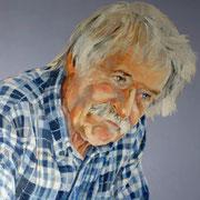 Portrait in Öl - Mann mit blauem Hemd (40x50 cm)
