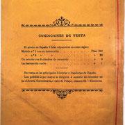 En la contraportada del folleto de instrucciones se muestran los precios de los modelos 1 y 2, así como de 9 cilindros de recambio y del folleto suelto