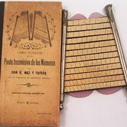 La máquina de calcular PAUTA TRASMISIVA DE LOS NÚMEROS viene acompañada de un libro auxiliar donde se explica su manejo e incluye un conjunto de tablas con los resultados de las operaciones necesarias  (similar a los libros de cuentas  hechas o ajustadas)