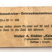 Reverso con las instrucciones de uso de la regla para multiplicación KAISERMÜLHLE. La empresa FROHS se hizo cargo de KAISERMÜLHLE en 1913
