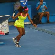 Serena macht Trockenübungen nach dem Wechsel