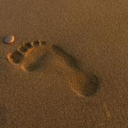 Fußabdruck, am Strand von Lido de Jesolo