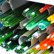Rohglasstangen zur Glasperlenherstellung