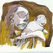 Mutter,  Tusche auf Aquarellkarton, März 2012