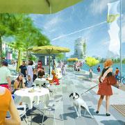 Visualisierung der Seepromenade aspern Seestadt | copyright: schreinerkastler / Wien 3420 AG