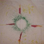 """... der Adventkranz wurde durch Anschlagen der Klangschale """"gemalt"""""""