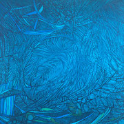 o.T., Tusche/Farbstift auf Papier, 20 x 20 cm, 2019