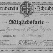 Mitgliedskarte aus dem Jahre 1920