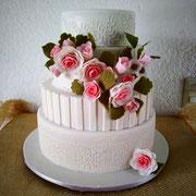 pastel fondant boda flores