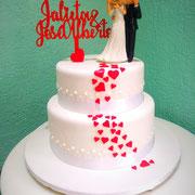 pastel fondant boda corazones