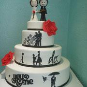 pastel boda fondant siluetas