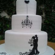 pastel fondant blanco elegante siluetas negro