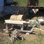Bau des Holzbackofens