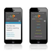 Homepage positive coaching network · www.positive-coaching.net · Full-Responsive Webdesign · Dynamische Anpassung für Smartphone · CMS · Typo3
