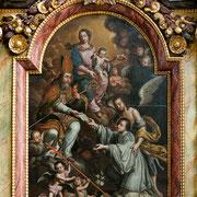 Das barocke Retabel des Augustinusaltars von 1696 zeigt mit der Übergabe der Ordensregel an den hl. Norbert ein typisches Motiv prämonstratensischer Spiritualität.