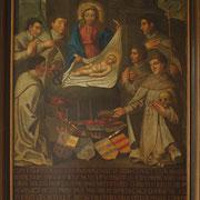 """Das Cappenberger Stifterbild reiht Gottfried unter die adligen Gefährten des hl. Norbert ein, die """"als Helden ihre zahlreichen Titel und Insignien dem armen Jesuskind in der Krippe aufopferten und dem weißen Heere übergaben""""."""