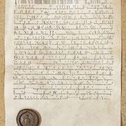 """Dem 1171 verfaßten Testament Ottos von Cappenberg zufolge sind ein Reliquienkreuz, ein Kelch, eine Taufschale und eben das Reliquiar """"nach dem Bildnis des Kaisers"""" Geschenke seines Patensohnes Friedrich Barbarossa an das Stift Cappenberg."""
