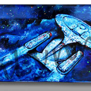 Star Trek Enterprise 1701 D - Mixed Media on Wood, Skateboard - Commission avalable