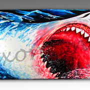 Nibbles Great white Shark - Mixed Media on Wood, Skateboard - Commission available