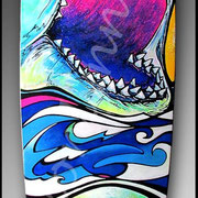 Smile You SOB - Longboard painting. Fine art skateboards, longboards & surfboards