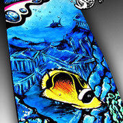Liquid Skies - Acrylic on Wood, Skateboard - Commission available