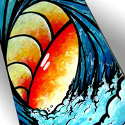 Ablaze Wave Again  - Acrylic on Wood, Skateboard - Commission available