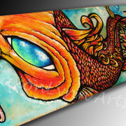 Earth Koi - Acrylic on Wood, Skateboard - Commission available