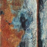 Gefestigt I - 25,5x18,5 cm - Rost, Nagel, Acryl auf Leinwand