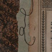 Serie - Timelines Nr. V - 10x10 cm - antikes Papier, Nähgarn auf Karton