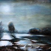Winterlandschaft 80x100 cm  Öl auf Leinwand
