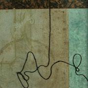 Serie - Timelines Nr. VI - 10x10 cm - antikes Papier, Nähgarn auf Karton