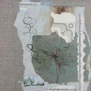 Sommernachtstraum I - 31x24 cm - antikes Papier, Foto,Nähgarn auf Naturleinwand
