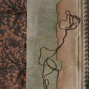 Serie - Timelines Nr. II - 10x10 cm - antikes Papier, Nähgarn auf Karton