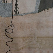 Serie - Timelines Nr. IV - 13x9 cm - antikes Papier, Nähgarn auf Karton