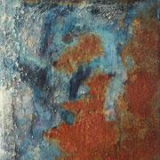 Gefestigt II - 24,5x18,5 cm - Rost, Nagel, Acryl auf Leinwand