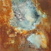 Ausblick - 40x40 cm - Rost,Papier,Acryl auf Leinwand