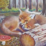 Le repos des renards - Pastel sec sur pastelmat